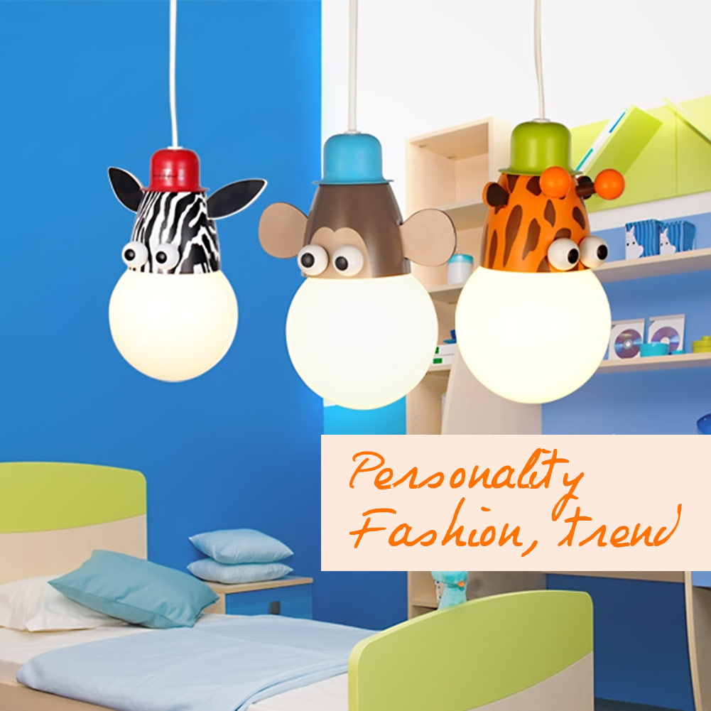 French monkey lamp - Single Head Lovely Cartoon Pendant Light Children Bedroom Lamps Modern Monkey Giraffe Zebra Hang