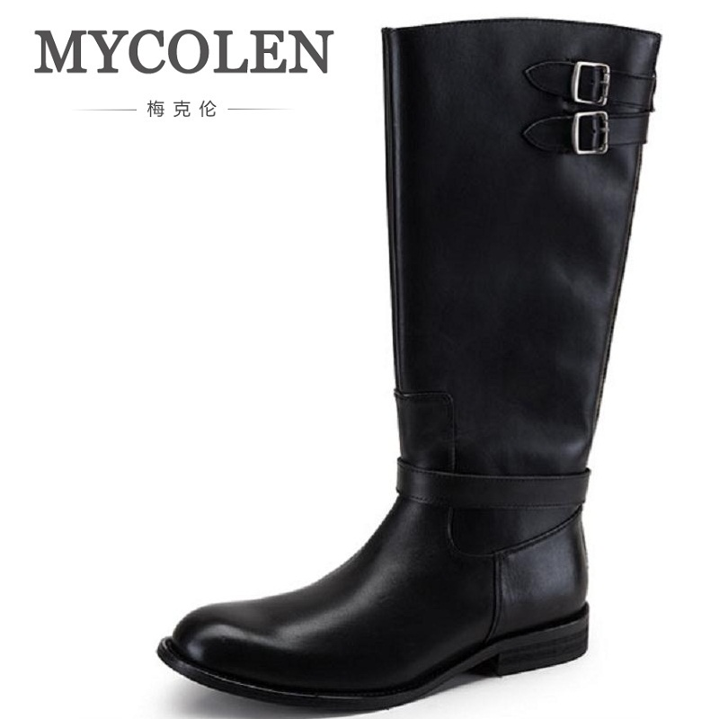 MYCOLEN Men Fashion Ankle Boots Adult Genuine Leather Trend Shoes Autumn Winter British Style Riding Boots Chaussure Homme [krusdan]british style men autumn winter boots solid casual genuine leather retro boots falts brand red wine male ankle boot