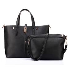 Bolsas marca 2 unids mujeres bolsa de cuero de LA PU bolso de mano señoras de la manera bolso ocasional de gran capacidad de bolsa compuesto 2 sets