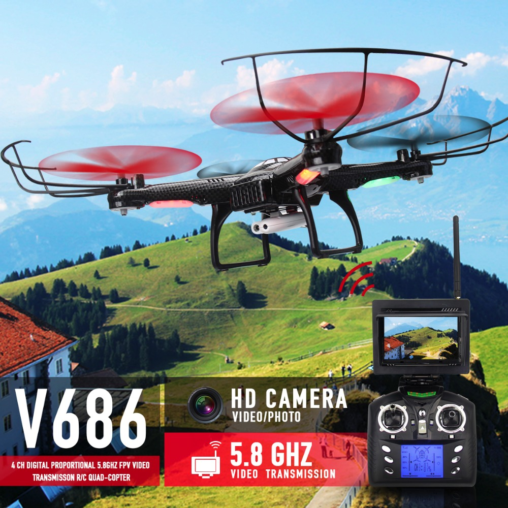 Hot Sale FPV RC Drones With Camera HD Professional Dron Quadcopters Remote Control Flying Camera Toy Helicopter Wltoys V686 hubsan x4 plus h107c 2 4ghz remote control quadcopter ufo drones with 720p hd camera rc drone dron with light flying helicopter