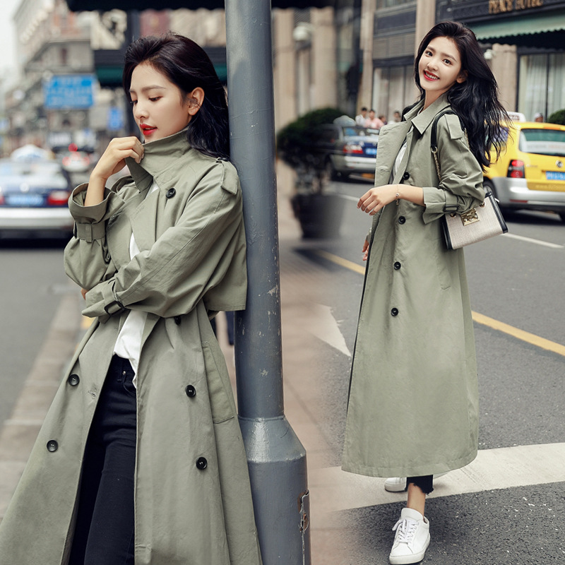 2019 New Korean Double-breasted X-long   Trench   Loose Clothing Outerwear High Quality Solid Color Casual Coats
