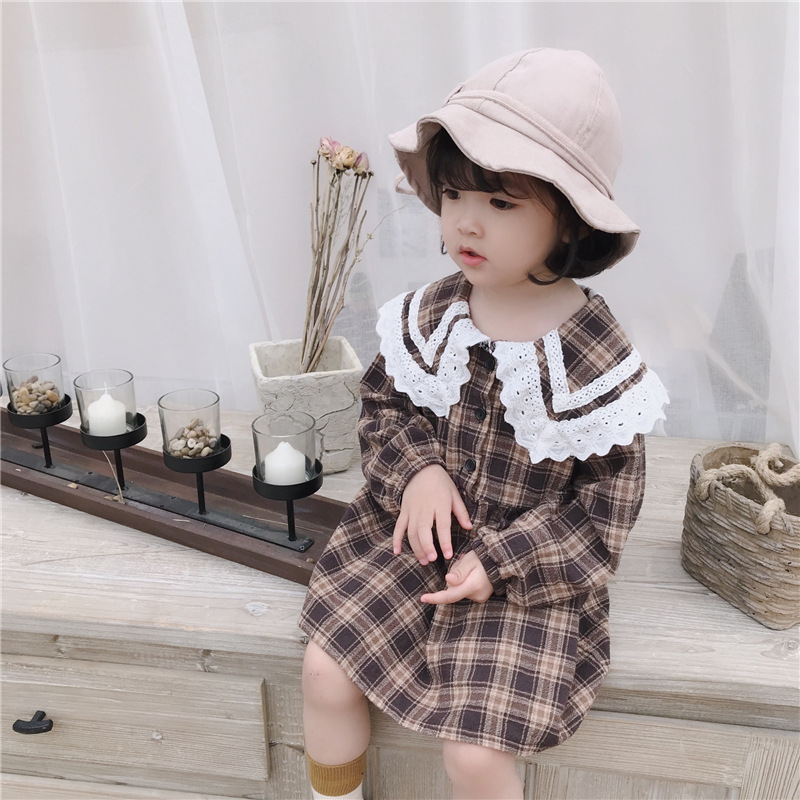 Girls Dress Baby Clothes Lace Long-Sleeved Retro Cotton Waist Plaid Spring Enfant New