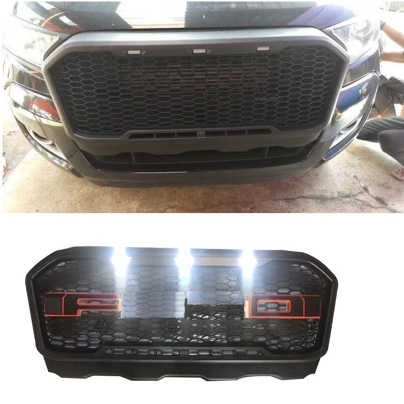 OWN DESIGN MODIFIED RACING GRILLE GRILLS WITH LED FRONT BUMPER MASK FIT FOR RANGER T7 GRILL 2015-2017 PICKUP AUTO ACCESSORIES Гриль