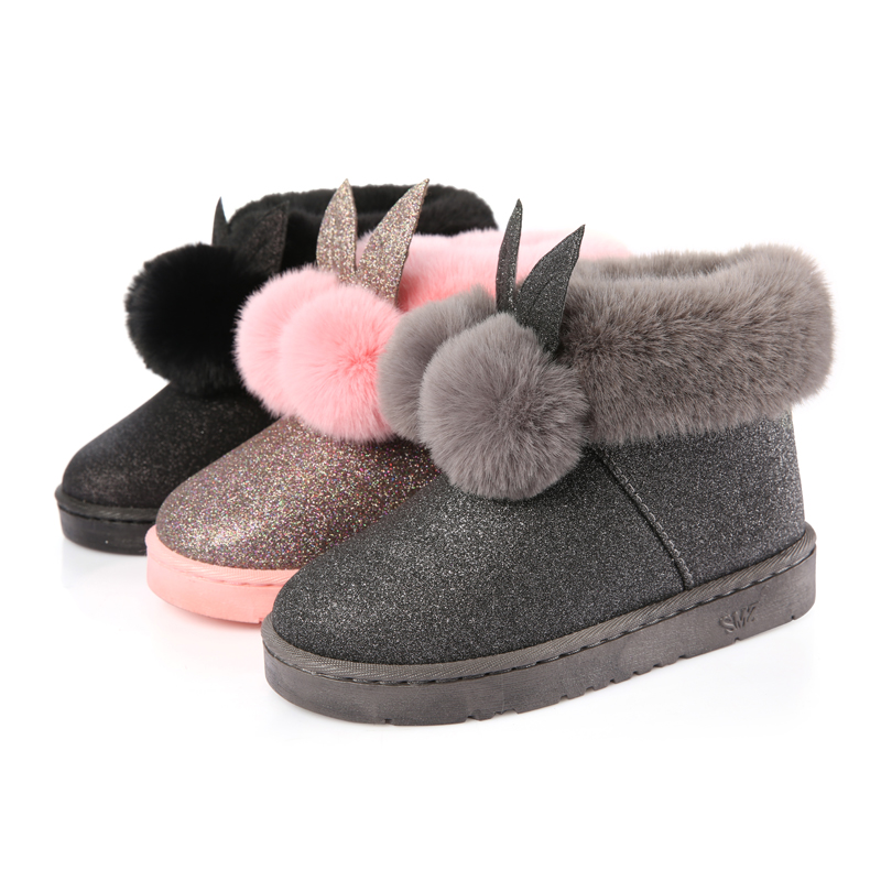2018 Winter Women s boots female Venonat rabbit ear lovely boots waterproof  and velvet with thick warm cotton shoes U Style-in Mid-Calf Boots from  Shoes on ... d6b72d75d8d9
