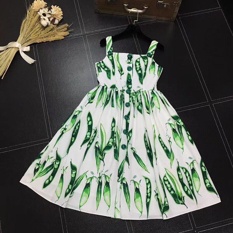 Milan Catwalk Runway Designer Summer Pea Print Sleeveless Bottons Front Vest Dress Sexy Spaghetti Strap robe femme ete 2018