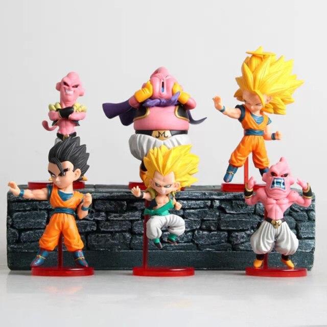 6 pçs/set Q Versão De Dragon Ball Z Majin Buu Gotenks Super Saiyan Goku Kai PVC figura brinquedos boneca