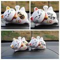 1 Pc Solar Powered 4'' Maneki Neko Lucky Waving Beckoning Fortune Cat Home Decor Cartoon Style YYY9126