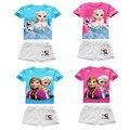 Girl Summer Frozen Clothing Sets Girl's Short sleeve T Shirt+Short Pants Girls Suits Sets Children Shorts New 2017 15F