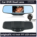 "Dual Lens Car Rearview DVR Mirror Camera Full HD 1080P 30FPS 12.0MP CMOS 4.3""LCD+170 Degree Wide Angle Rear Camera"