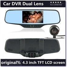 Big discount Dual Lens Car Rearview DVR Mirror Camera Full HD 1080P 30FPS 12.0MP CMOS 4.3″LCD+170 Degree Wide Angle Rear Camera