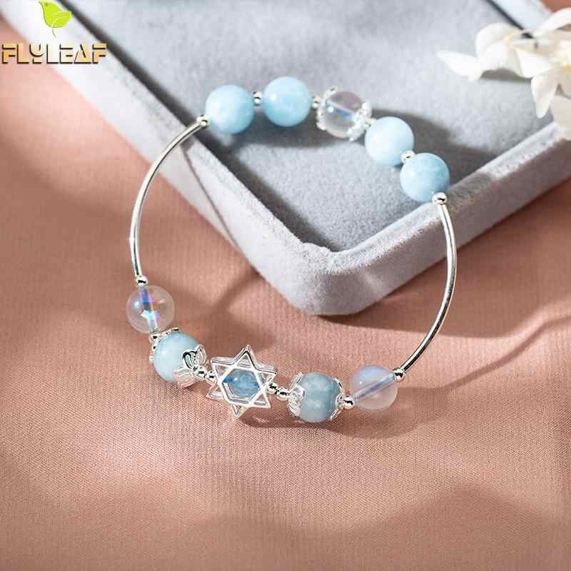 925 Sterling Silver Natural Stone Aquamarine Moonstone Stars Charm Bracelets For Women Fashion Jewelry Bracelets & Bangles