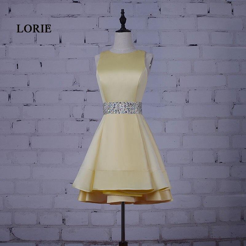 Лори Короткие платье для выпускного вечера для Выпускной бисером Пояса Настоящее Желтый САТ платье Стразы-Line Коктейль платье Homecoming