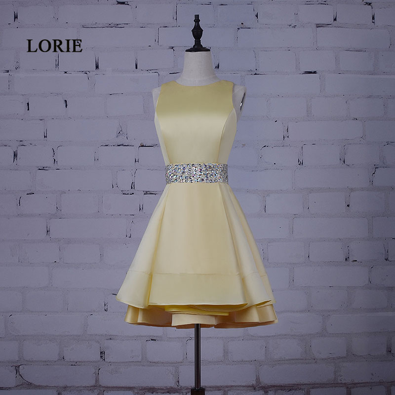 LORIE Short Prom klänning för Graduation Beaded Sashes Real Gul Sath Party Dress Rhinestones A-Line Cocktail Homecoming Dress