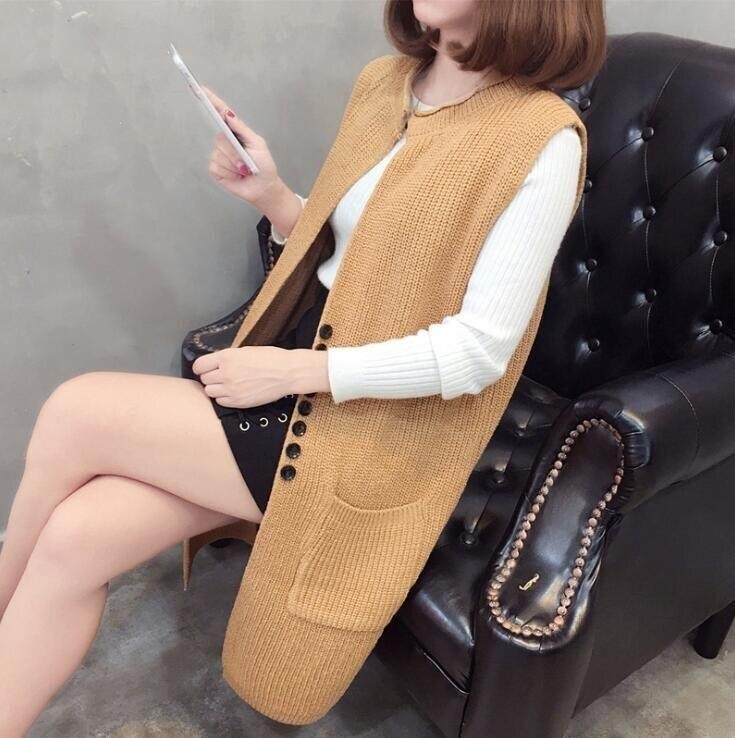 #0728 Sleeveless Long Knitted Vest Female Loose Coat Cardigan Sweater Women Single Button Waistcoat Fashion Slim Fit Veste Femme