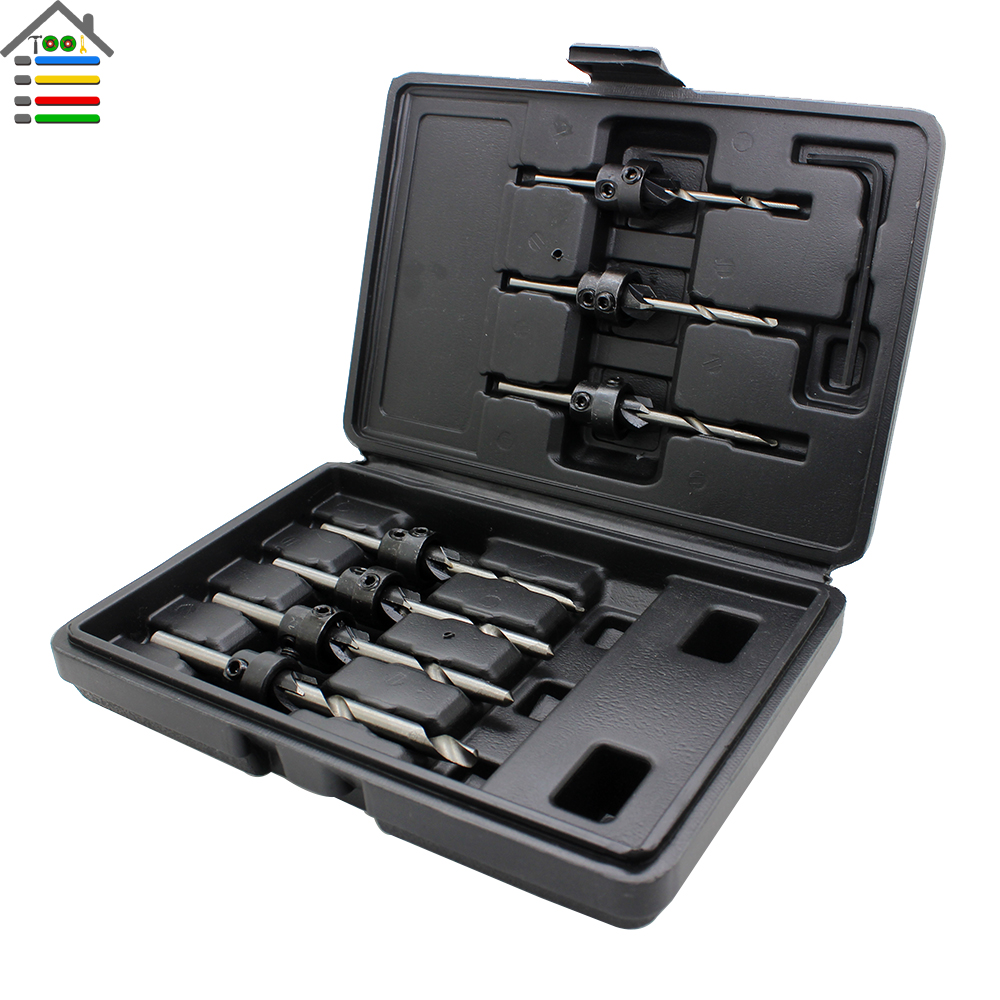 AUTOTOOLHOME Countersink Drill Bits Set Core High Speed Steel With Adjustable Depth Stop Collar Wood Woodworking Hole Saw Tools 5pcs 15 35mm high carbon steel woodworking drill bits flat wing hole saw wood drilling tools hinge hole boring cutter set
