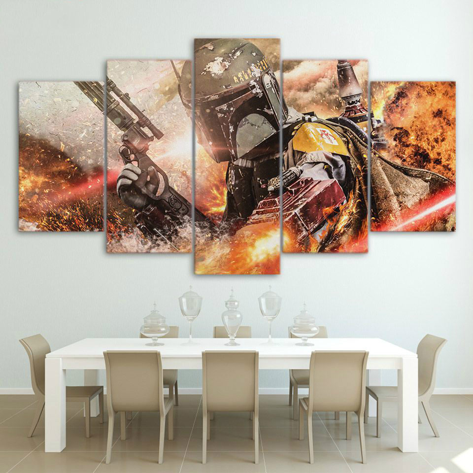 Movie Poster Wall Art Painting 5 Pieces Home Decor Star Wars Character Wall Decoration For Living Room Pictures Canvas Print Art