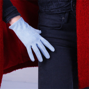 Image 3 - 21cm Suede Short Gloves Short Section Emulation Leather Brushed Suede Matte Light Blue Female Gloves Free Shipping WJP10 21