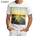 E-BAIHUI 2016 Summer Style New Slim T shirts 100% Cotton T shirt men Slim Fit Short Sleeve Men road printed  M-3XL Y048