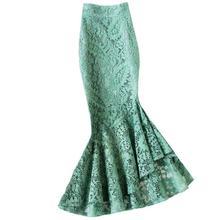 Lace skirt women 2020 summer irregular high waist office lady package hip mermai