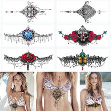 8pcs/lot Sexy Under Breast Tattoo Ornamental Tattoo, Temporary Body Tattoo Sticker, Premium Sternum Tattoos