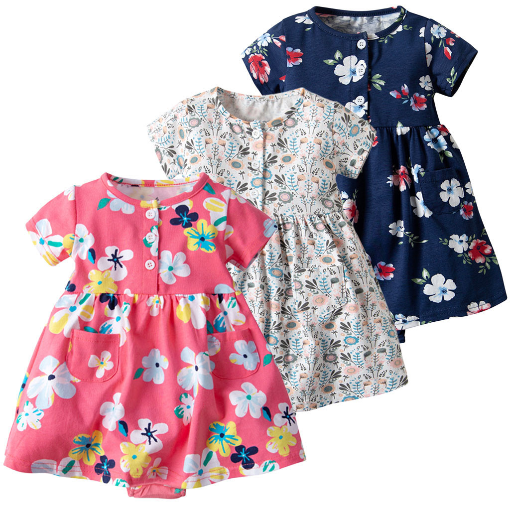 MUQGEW Toddler Kids Baby Girl Short Sleeve Floral Cotton