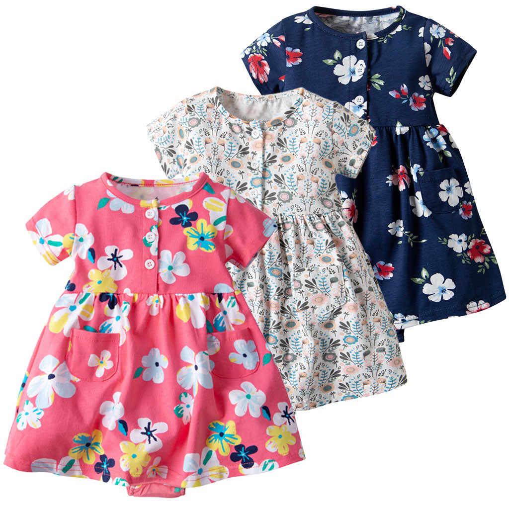 37a132784 Vestido Floral de manga corta para niños y bebés, vestidos de verano de  princesa sueltos de algodón, vestidos de verano, ropa para niñas