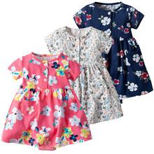 Toddler Kid Baby Girl Krótki rękaw kwiatowy sukienka księżniczka Romper sukienki ubrania tanie tanio W MUQGEW Stałe Bawełna Casual Regularne Długość kolana Wzór Trapezowa O-Neck Mieszanka bawełny Pasuje do rozmiaru Weź swój normalny rozmiar