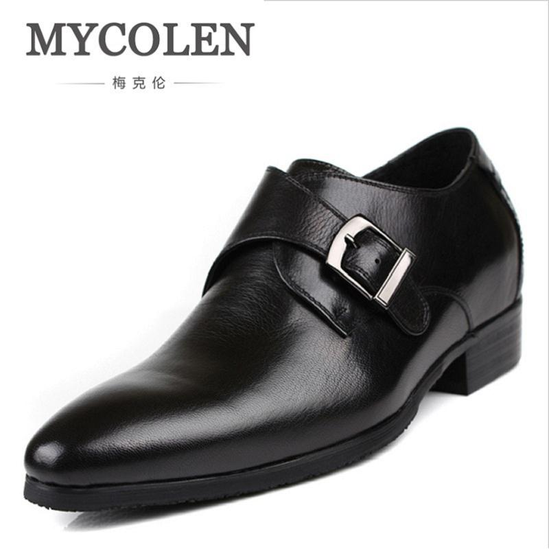 MYCOLEN Business Genuine Leather Shoes Men Casual Buckle Strap Increased 7cm Leather Men's Shoes Wedding Pointed Toe Shoes mycolen high quality genuine leather men formal shoes business casual pointed toe buckle strap dress wedding men dress shoes