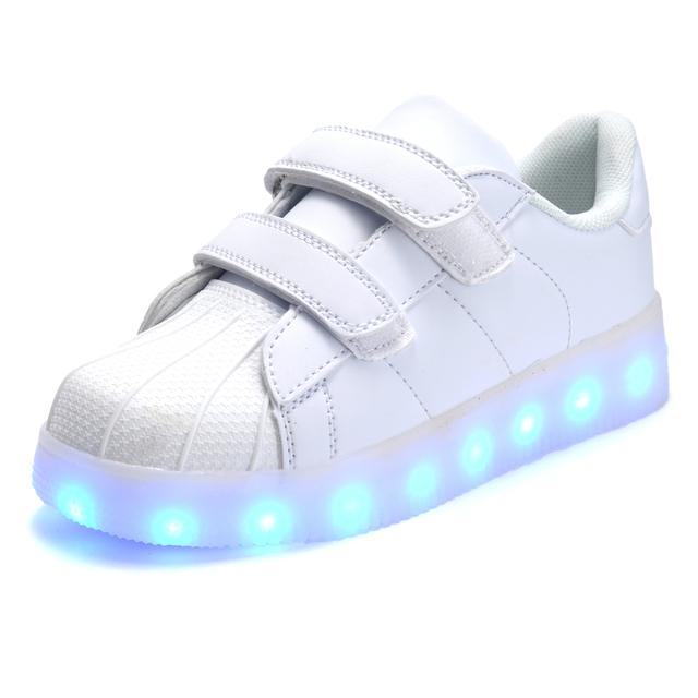 Moda 7 colores zapatillas de deporte para niños de carga usb luminoso iluminado zapatillas boy/niñas colorido led niños shoes tamaño 25-37