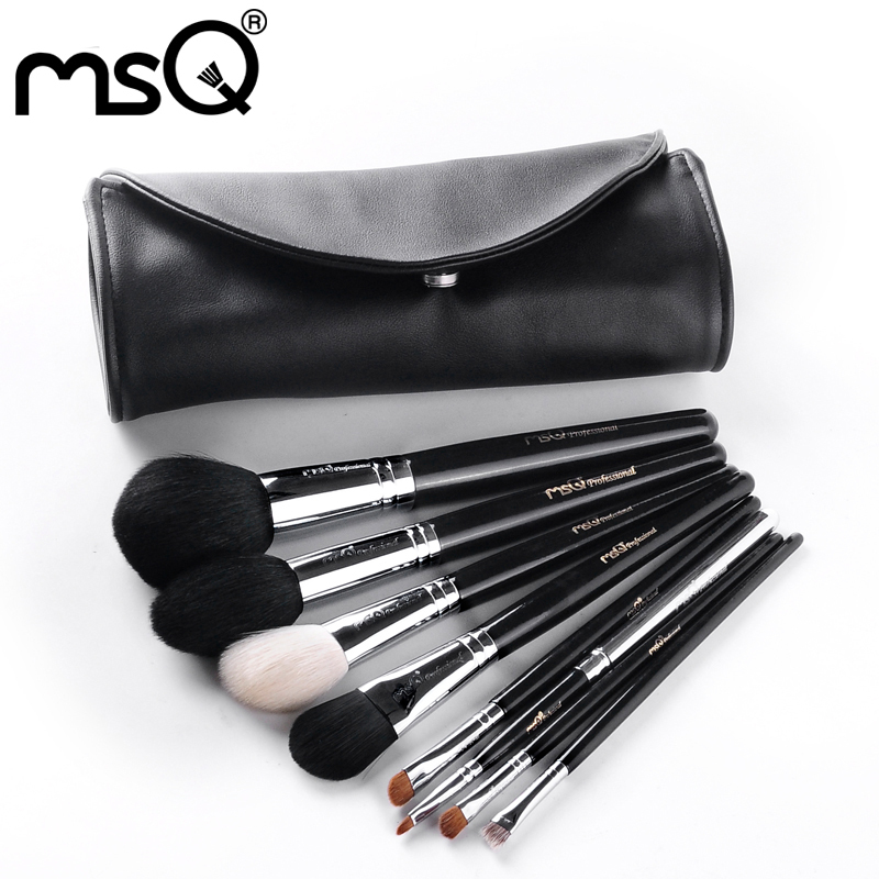MSQ 8pcs Professional Makeup Brushes Set For Travel Soft Animal Hair Copper Ferrule With PU Leather Case