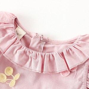 Image 3 - Dziewczynek sukienka 100% bawełna Cherry haft bufiaste rękawy koronki niemowlę noworodka piłka dla niemowląt suknia wieczorowa 0 2Y