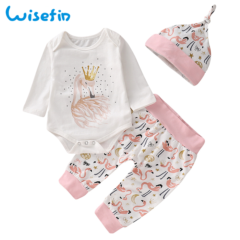 купить Wisefin Flamingo Baby Girl Clothes Set Baby Bodysuits Long Sleeve+Long Pants+Hat Cotton Newborn Clothes Baby Set Infant Clothing онлайн