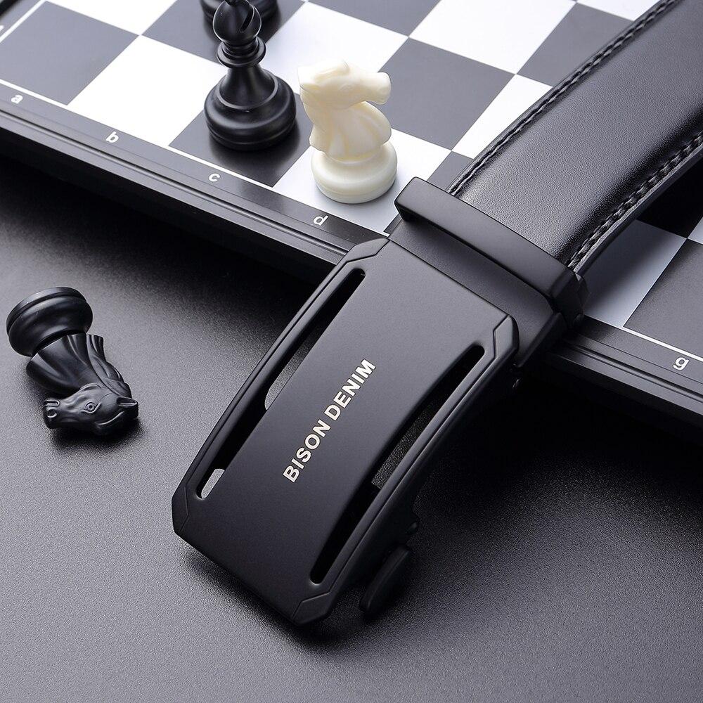 BISON DENIM 100% Genuine Leather Men Belts Automatic Buckle Designer Real Cowskin Men's Belt Luxury Waistband Black N7135