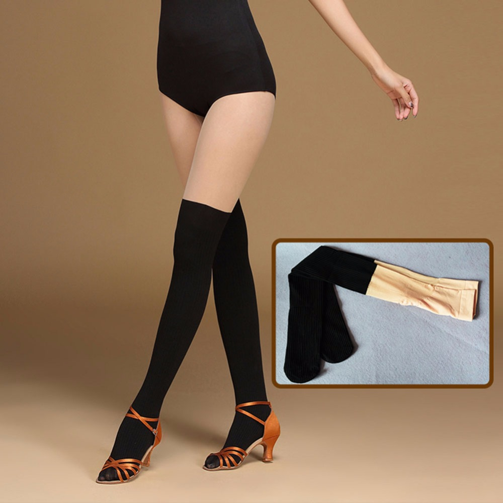 2017 New Adult Women Latin Dance Accessories Bottoms Sock Stockings Black Flesh Pratice Stage Velvet Yarn Leggings FF6320