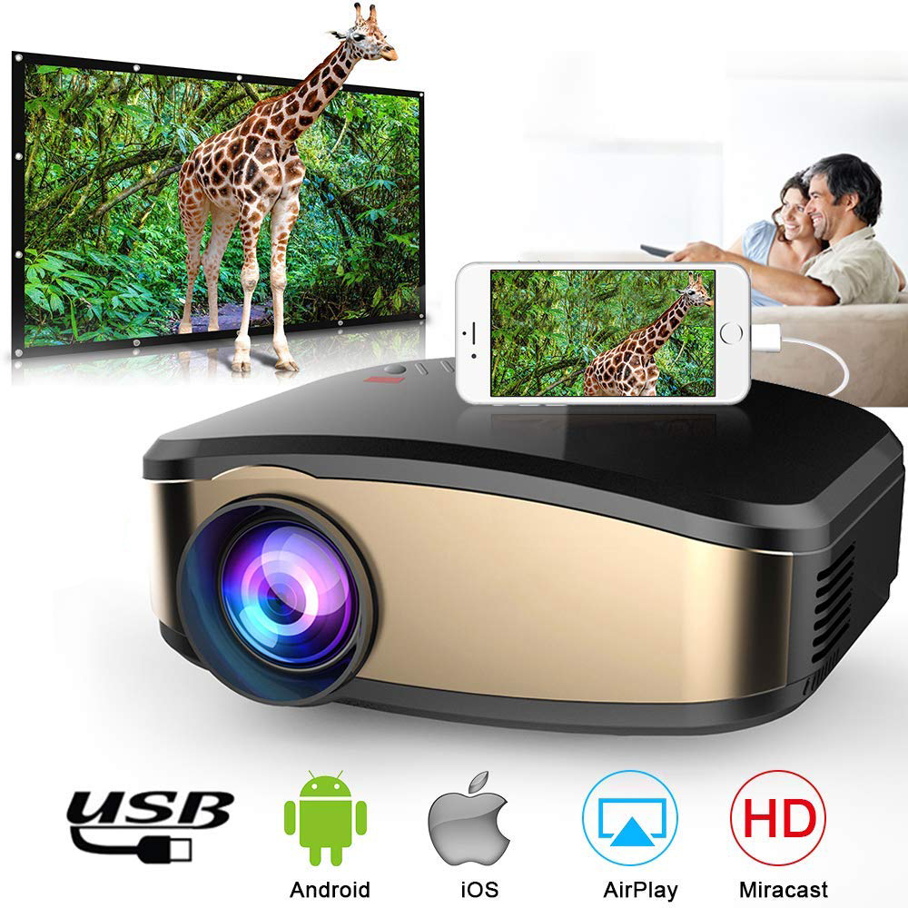 Mini Projector Portable Mini LED Movie Video Projector Support 1080P with HDMI USB VGA AV interface Home theater 5.1 for Laptop best christmas gift rd 802 portable mini projector home theater lcd led projector 480 320p with hdmi usb sd vga av audio input