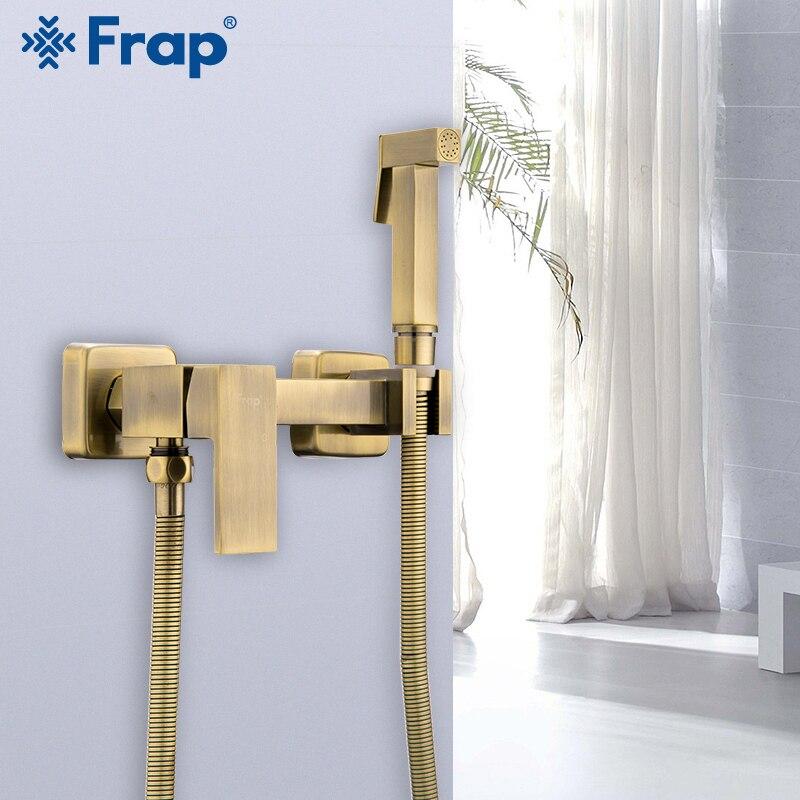 FRAP Bidets nouveau antique bidet salle de bain robinet eau chaude et froide mélangeur douche tête lavage toilette robinet mural bidet pulvérisateur