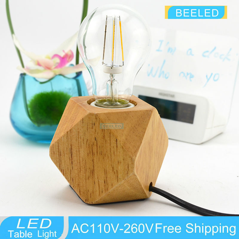 vintage wood Table Lamp Oak wood Light Modern Industrial lamp Bell Jar table lamp union lighting furnishings North Europe Style 20mm 22mm 24mm 26mm black stainless steel buckle for watch strap band free shipping