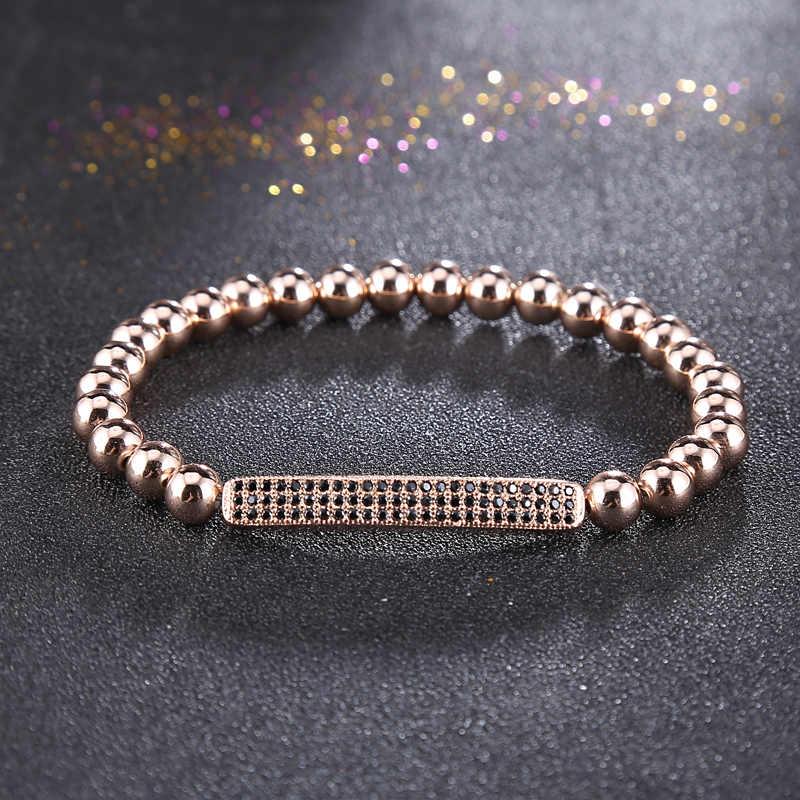 Mens Elastic Bracelet Gold Beads Stainless steel CZ Inlay Elastic Rope Bracelets for Women