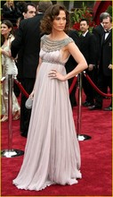 Berühmte Sterne Luxus Roter Teppich-berühmtheit Kleider Scoop Perlen Drapierte Reich Schwangere Kleid Mutterschaft Abendkleider