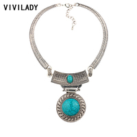 VIVILADY Yuvarlak Doğal Taşlar Tıknaz Kolye Kadın Maxi Kostüm Eski Gümüş Renk Çinko Alaşım Bildirimi Takı Aşk Hediyeler