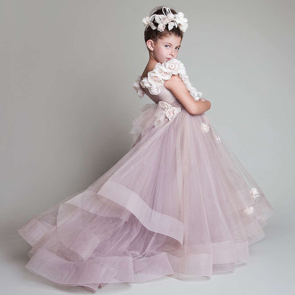 Lavender 2019   Flower     Girl     Dresses   For Weddings Ball Gown Cap Sleeves Tulle Baby Long First Communion   Dresses   For Little   Girls