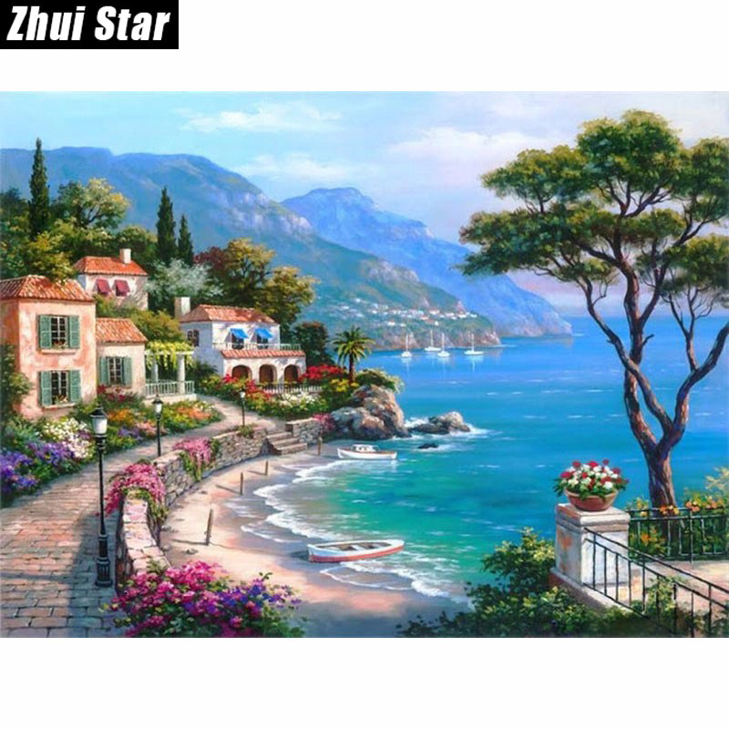 Mosaico de diamantes bordado lleno de diamantes cuentas hermosas Seaside Town Trees diamante punto de cruz Diamante cuadrado kits sin terminar