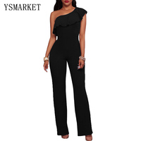 2017 Summer Sexy Overalls For Women Elegant Long Black Navy Blue One Shoulder Ruffle Jumpsuit Summer