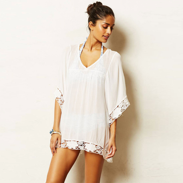 Famous Summer Beach sheer Kaftan Dress White Sexy Transparent Mesh  WQ67