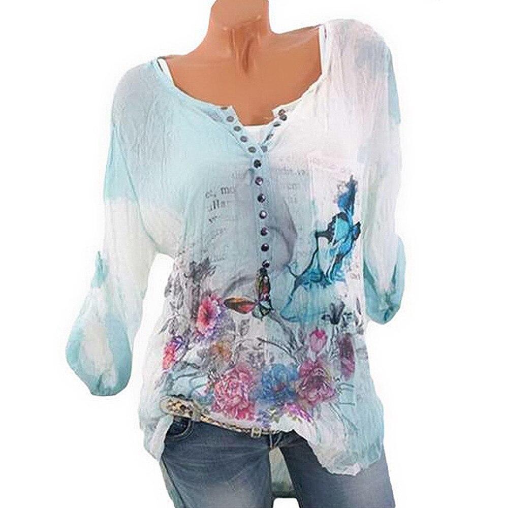 5xl Más Larga Tops Para Azul Mujeres Imprimir Manga Streetwear 2018 Y Mujer Tamaño Blusas Mariposa Ropa Botón BBrwgq4x57