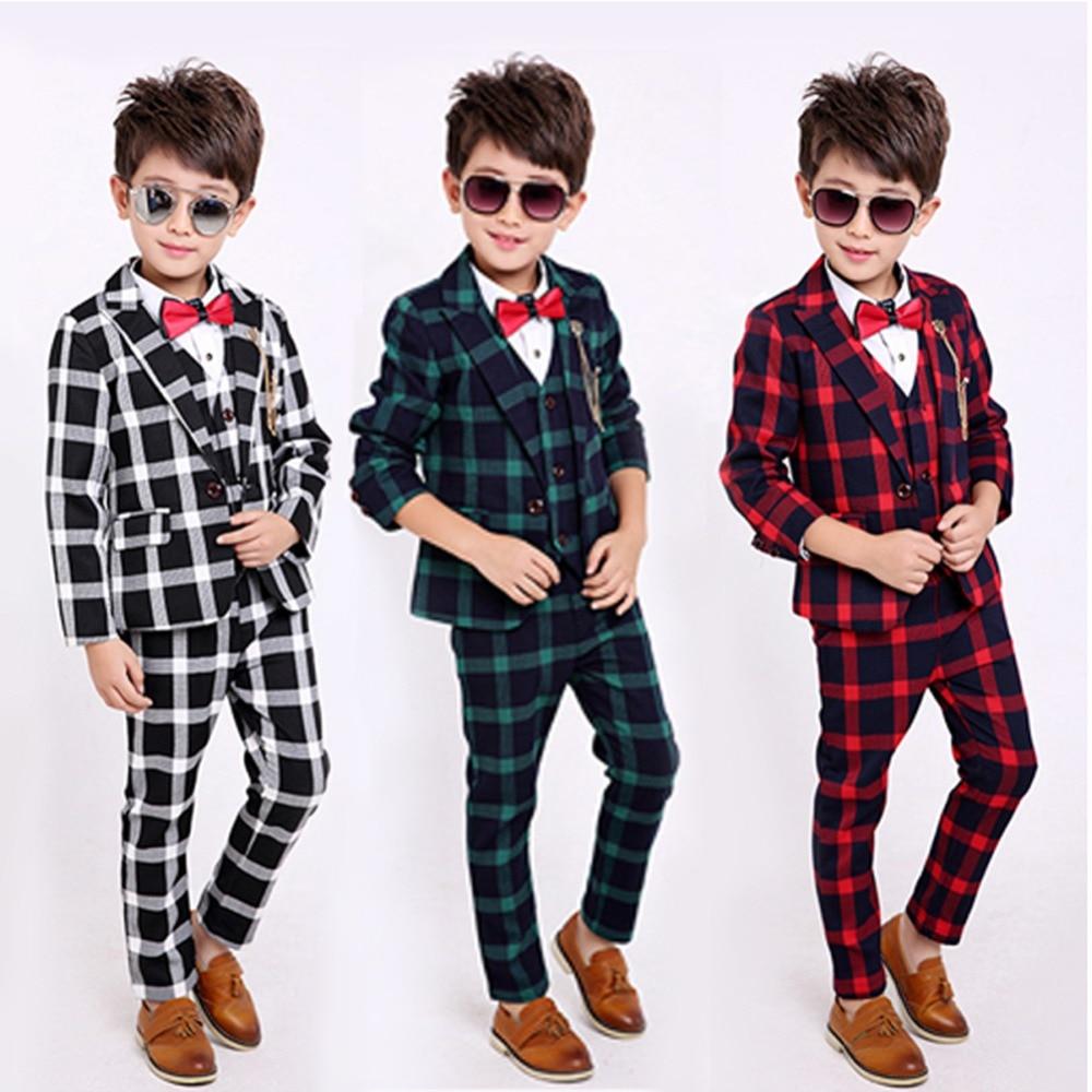 5PCS Little Boys Gentleman Tuxedo Suit Formal Wear Blazer Grid Coat Shirt Vest Pants Outfit Set with Bowtie5PCS Little Boys Gentleman Tuxedo Suit Formal Wear Blazer Grid Coat Shirt Vest Pants Outfit Set with Bowtie