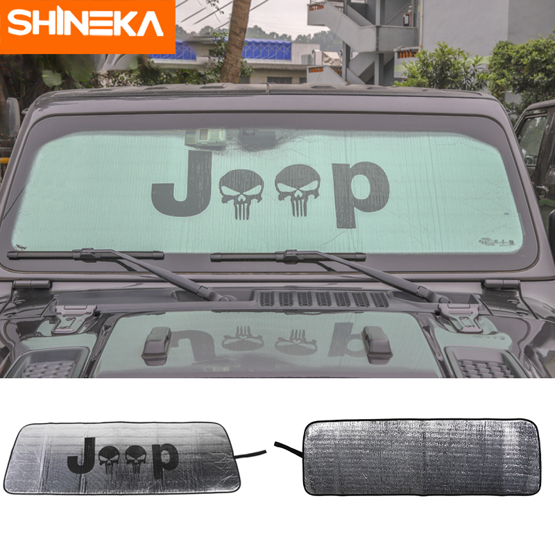 SHINEKA Windshield Sunshades For Jeep Wrangler JL 2018+ Skull Logo Windscreen Cover For Jeep Wrangler JL Accessories