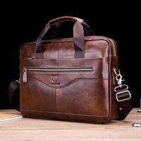 BULLCAPTAIN Business Men Briefcase Bag Promotion Simple Famous Brand Luxury Leather Laptop Bag Man Handbag Messenger Bags