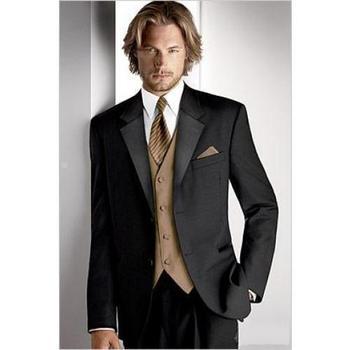 Slim Fit Black Best Man Groomsman Men's Wedding/Prom 3 Piece Suits Groom Tuxedos