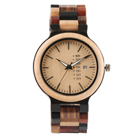 Casual Creative Color Full Bamboo Wooden Wrist Watch Men Simple Sport Nature Wooden Watch Band Fold Clasp Quartz Men's Watches